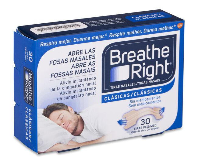 Breathe Right Tira Adhesiva Nasal Talla Pequeña-Mediana, 30 Uds