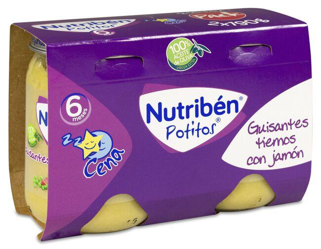 Nutribén Potitos Guisantes Tiernos con Jamón, 2 Uds