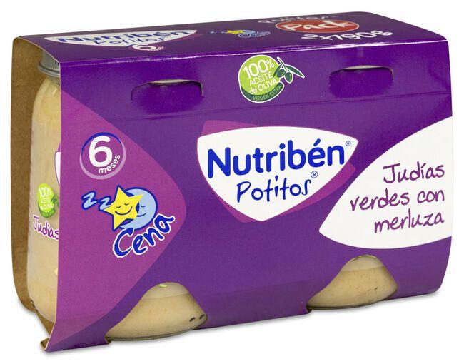 Nutribén Potitos Judías Verdes y Merluza, 2 Uds