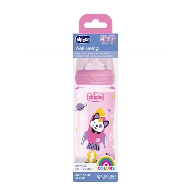 Chicco Biberón Well-Being Silicona 4m+ 330 ml Rosa, 1 Ud