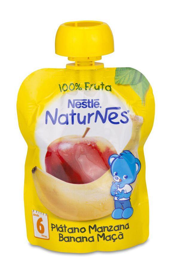 Nestlé Naturnes Bolsita de Fruta Plátano Manzana, 90 g