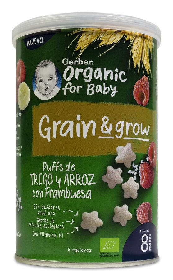 Gerber Organic Puff Snacks Trigo y Arroz con Frambuesa, 35 g