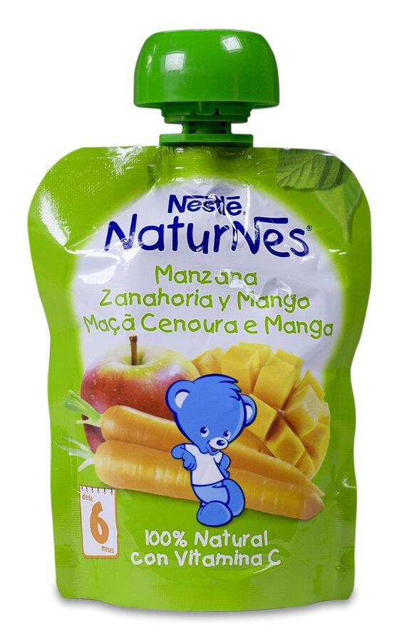 Nestlé Naturnes Bolsitas Manzana, Zanahoria y Mango, 90 g