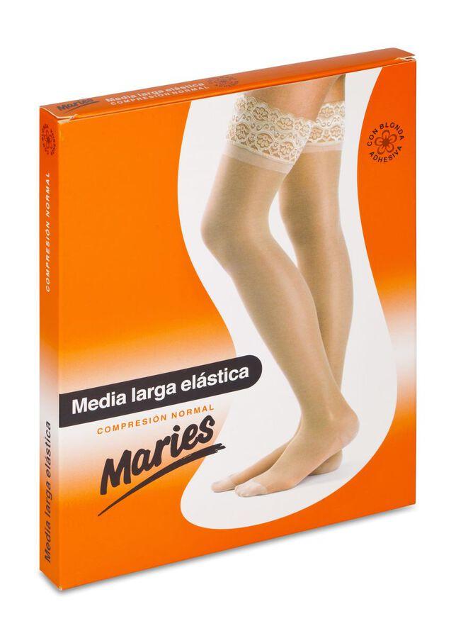 Maries Media Larga con Blonda Compresión Normal Beige Talla 6, 1 Media