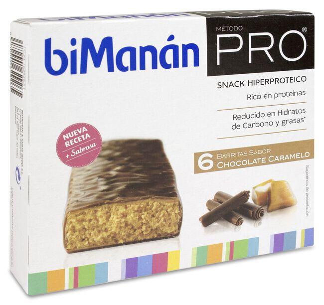 biManán Pro Barrita Chocolate Caramelo, 6 Uds
