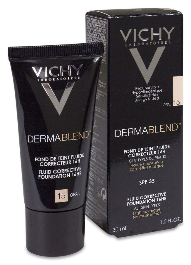 Vichy Dermablend Fondo de Maquillaje Fluido Corrector Tono 15 Opal, 30 ml