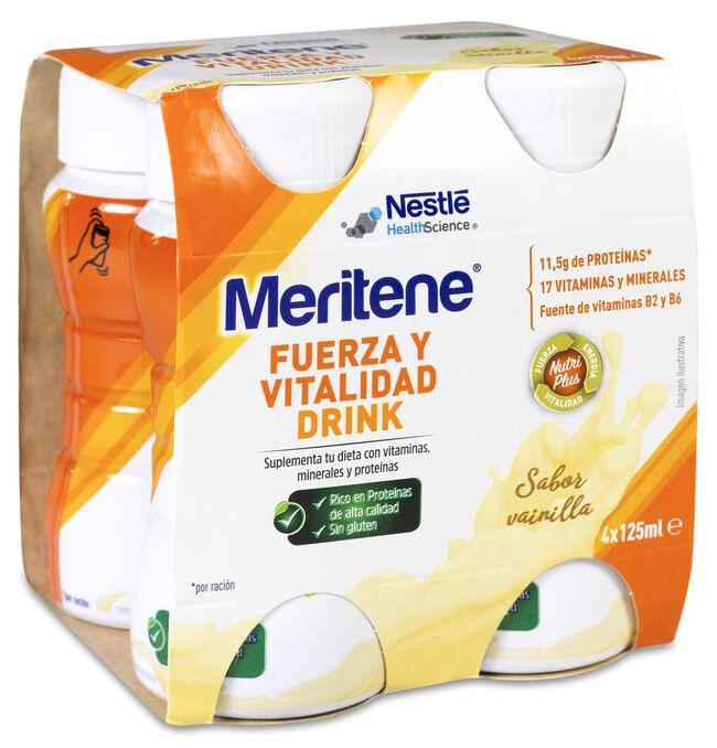 Meritene Drink Vainilla Botella 125 ml, 4 Uds