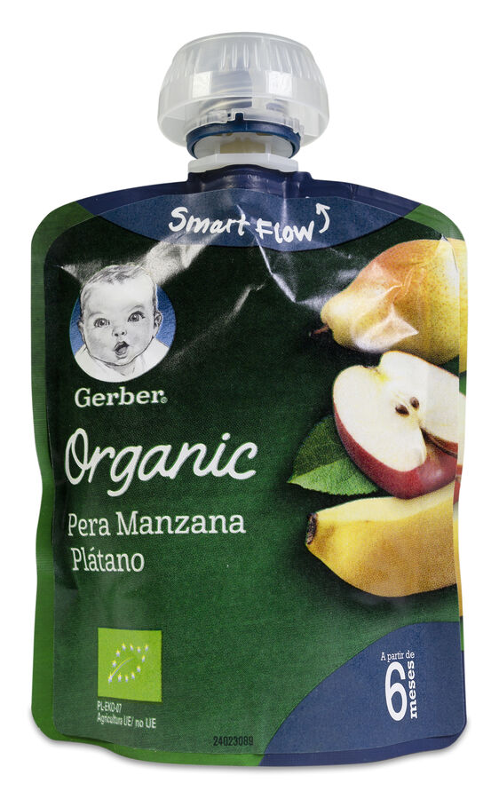 Gerber Organic Puré Pera, Manzana y Plátano, 90 g