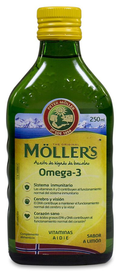 Möller's Omega-3 Aceite de Hígado de Bacalao Sabor Limón, 250 ml