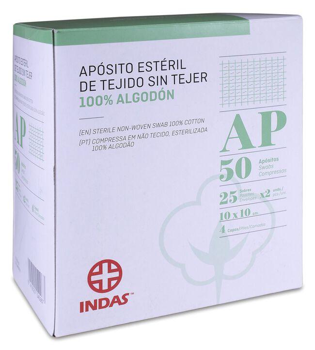 Indas Apósito Estéril Tejido Sin Tejer 100% Algodón 10x10cm, 50 Uds