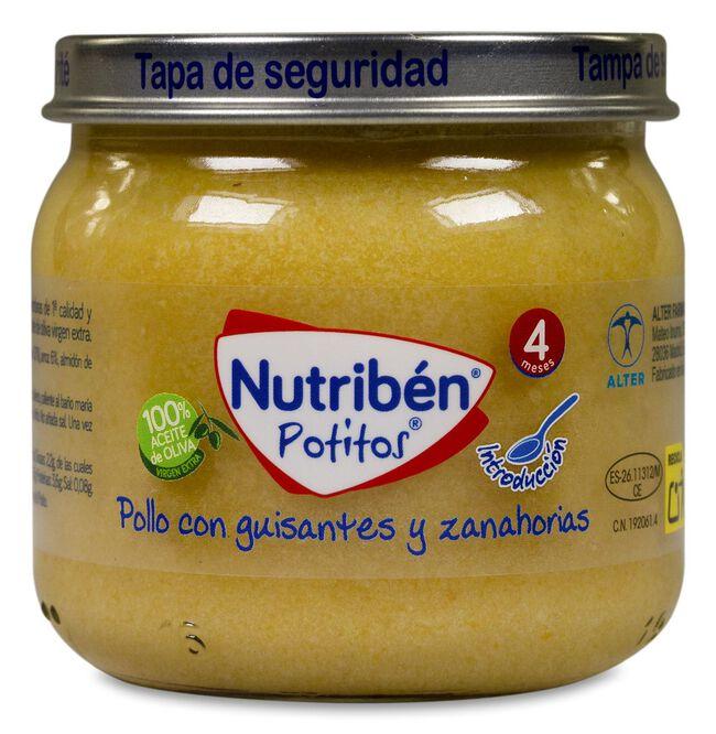 Nutribén Potitos Pollo con Guisantes y Zanahorias, 120 g