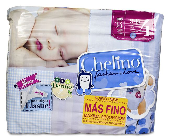 Chelino Fashion & Love Pañales Gateo Talla 4 (9-15 kg), 34 Uds