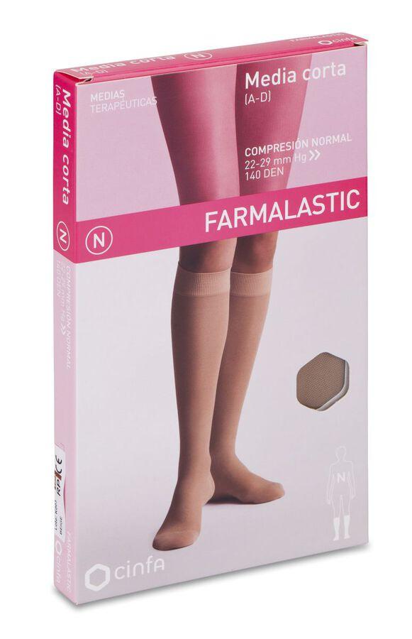 Farmalastic Media Corta Compresión Normal Beige Talla Reina Plus, 1 Par