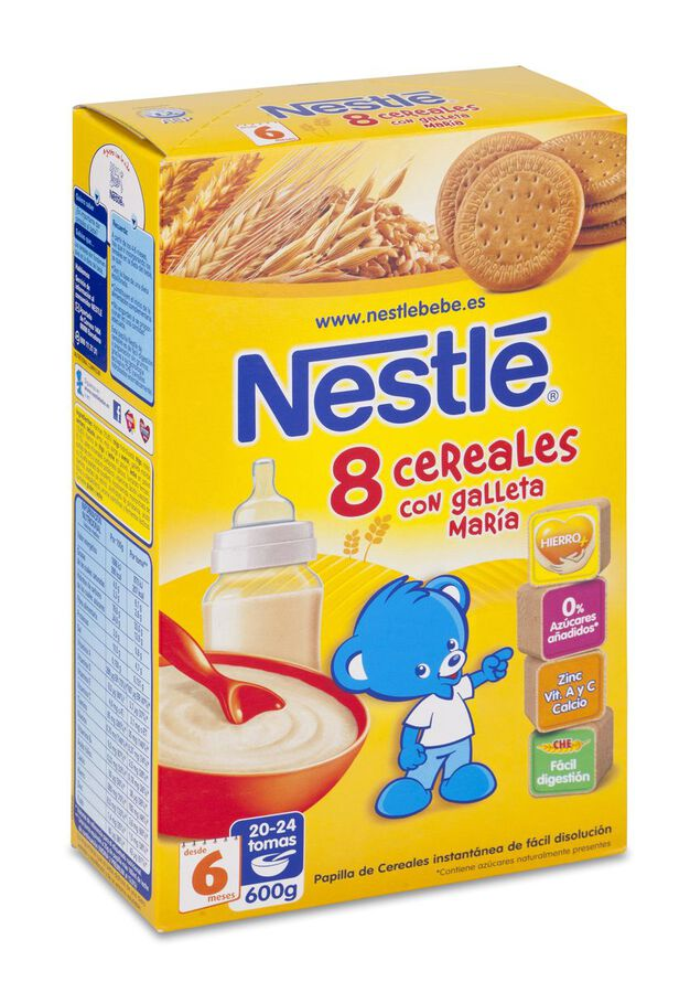 Nestlé Papilla 8 Cereales Galleta María, 600 g