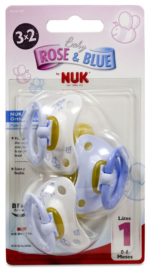 Nuk Chupete Blue Talla 1 Látex, 3 Uds