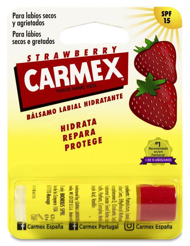 Carmex Strawberry Bálsamo Labial Hidratante SPF 15, 4,25 g