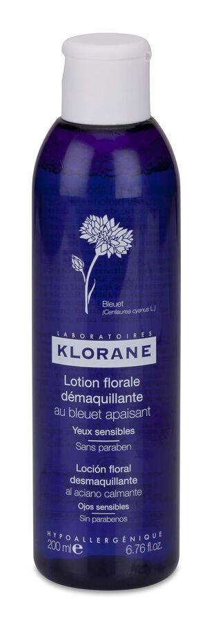 Klorane Loción Floral Desmaquillante de Ojos Sensibles al Aciano, 200 ml