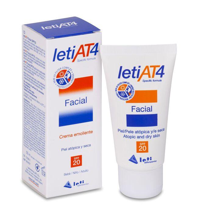LETI At-4 Crema Facial SPF 20 Piel Atópica y/o Seca, 50 ml