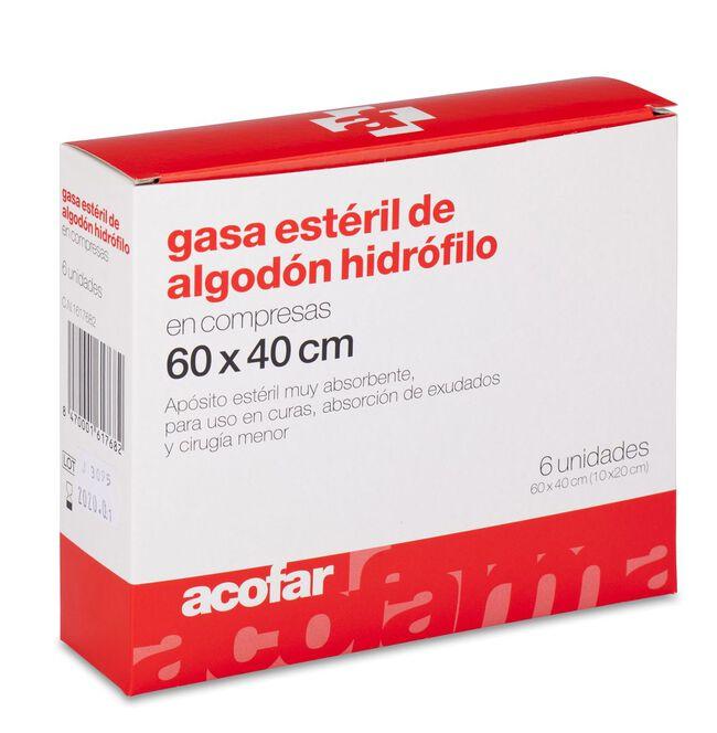 Acofar Gasa Estéril de Algodón Hidrófilo en Compresas 60 x 40 cm