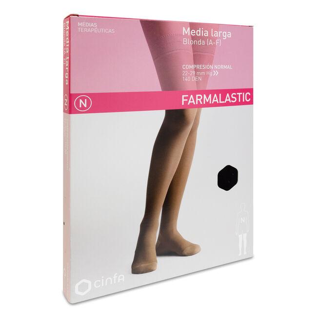 Farmalastic Media Larga de Compresión Normal Negro Grande, 1 Par