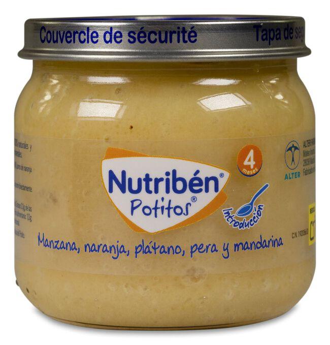 Nutribén Potitos Introducción Manzana, Naranja, Plátano, Pera y Mandarina, 120 g