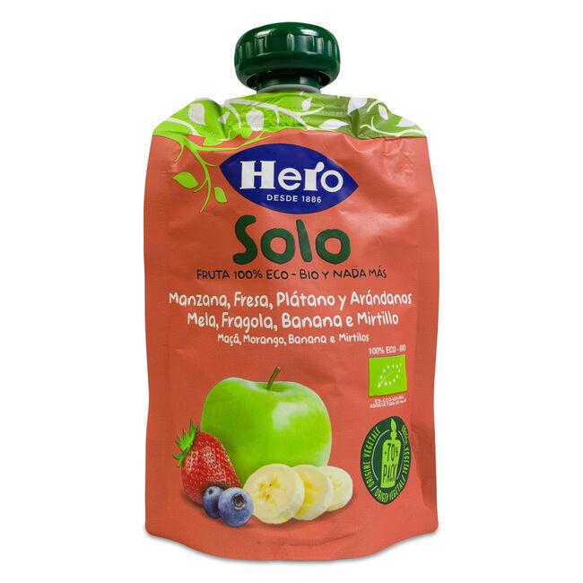 Hero Baby Bolsita Solo Manzana, Fresa, Plátano, Arándanos, 100 g