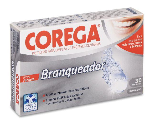 Corega Blanqueador Limpieza Prótesis Dental, 30 Uds
