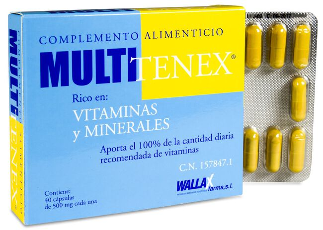 Multitenex 500 mg, 40 Cápsulas