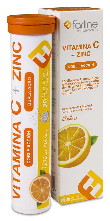 Farline Vitamina C + Zinc, 20 Comprimidos Efervescentes