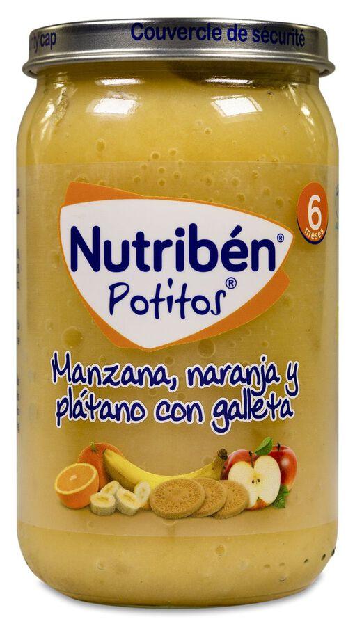 Nutribén Potitos Manzana, Naranja y Plátano con Galleta, 235 g
