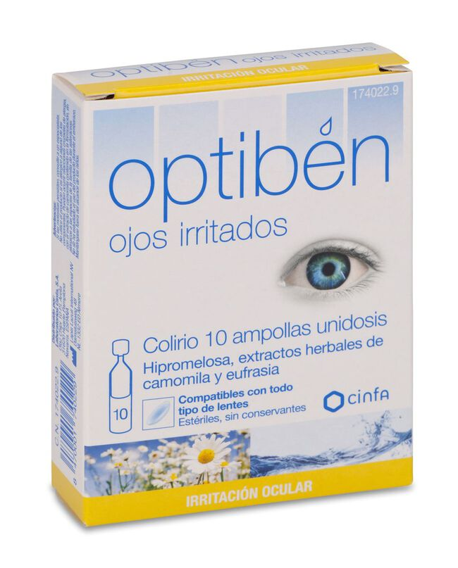 Optiben Ojos Irritados Sequedad Ocular, 10 Uds