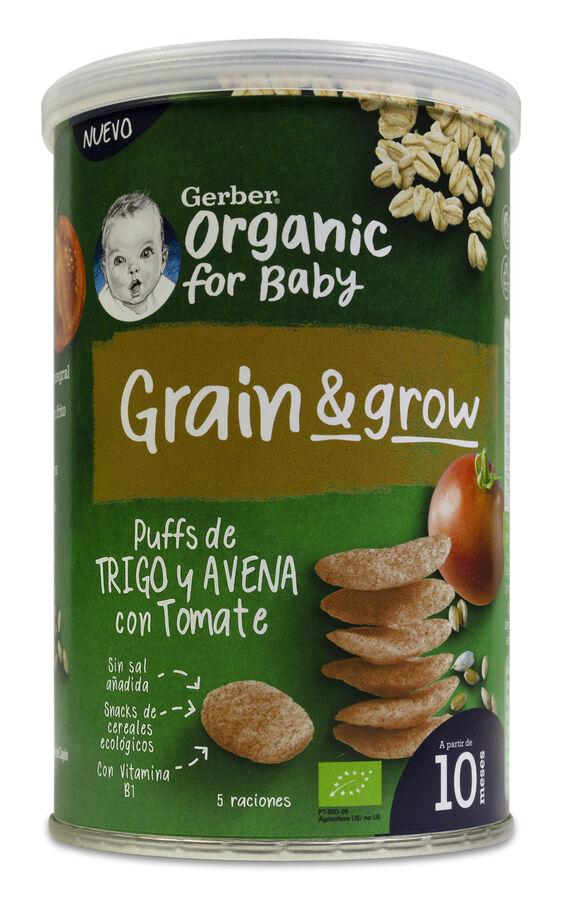 Gerber Organic Puff Snacks Trigo y Avena con Tomate, 35 g