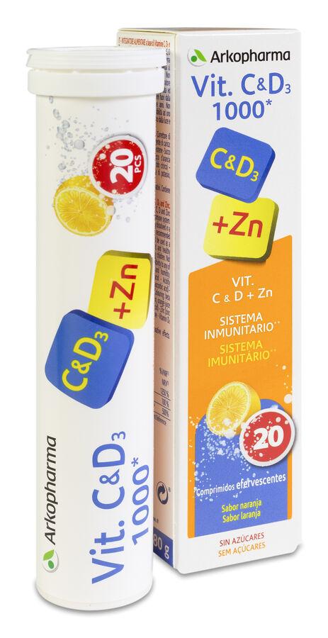 Arkopharma Vitamina C&D3 + Zinc, 20 Comprimidos