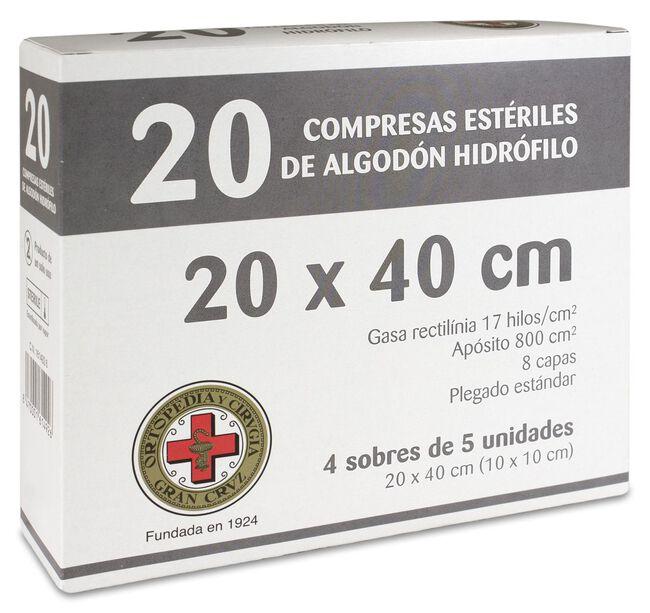 Gran Cruz Gasa Estéril 20 x 40 cm, 20 Uds