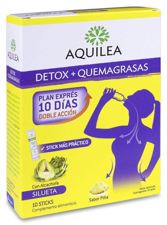 Aquilea Detox + Quemagrasas Sabor Piña, 10 Uds