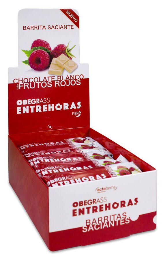 Obegrass Barritas Entrehoras Chocolate Blanco y Frutos Rojos, 20 Uds