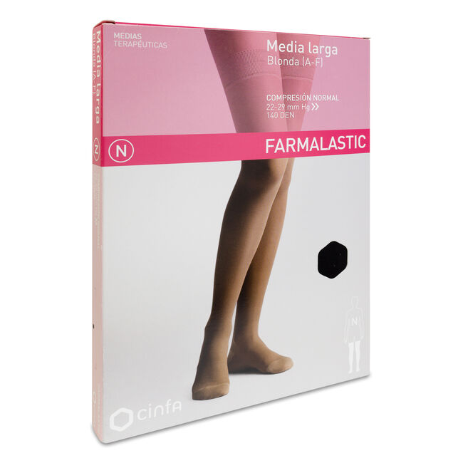 Farmalastic Media Larga de Compresión Normal Negro Extra Grande, 1 Par