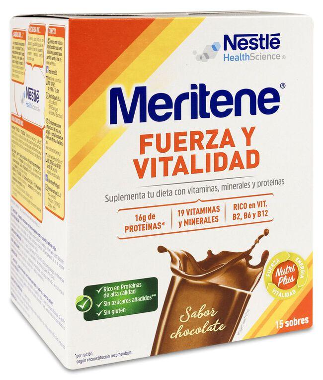 Meritene Fuerza y Vitalidad Batido Sabor Chocolate, 15 Sobres