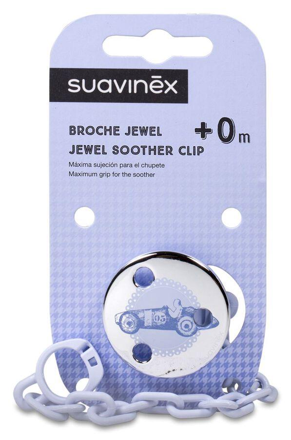 Suavinex Broche de Pinza Jewel Azul, 1 Ud
