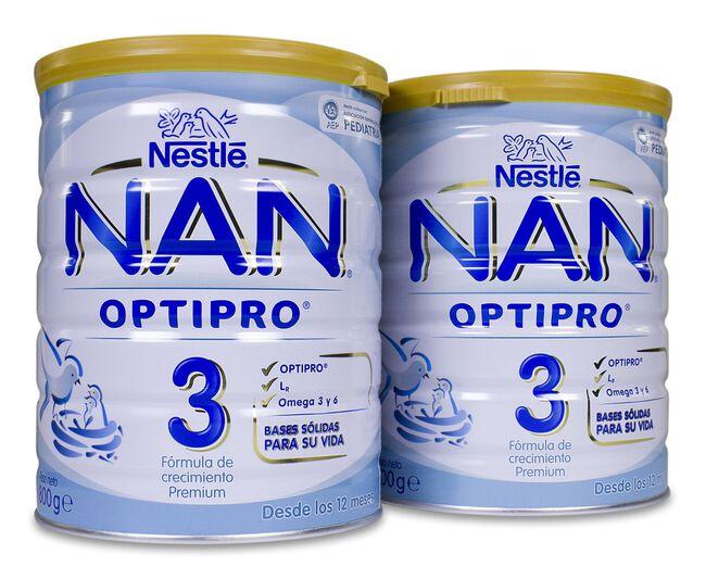 Duplo Nestlé Nan Optipro 3 Leche Crecimiento, 800 g + 800 g