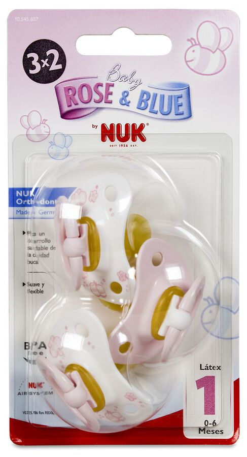Nuk Chupete Classic Rose & Blue Rosa Látex 0-6 M, 3 Uds