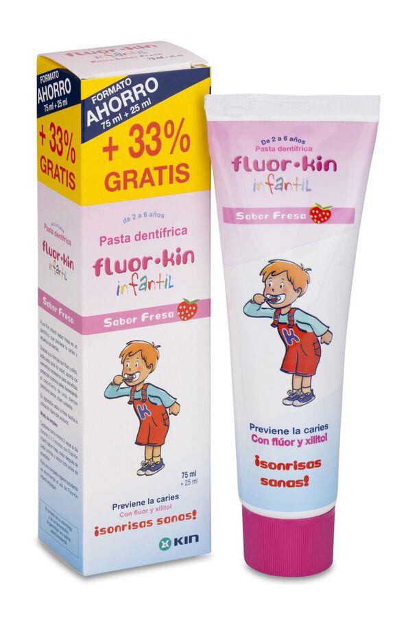 Fluor Kin Infantil Pasta Dentifrica Fresa, 75 ml