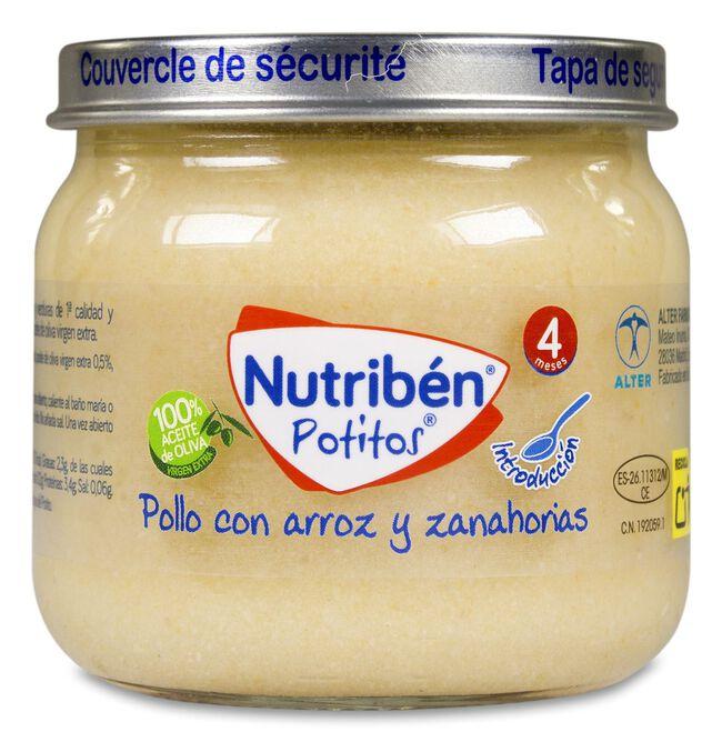 Nutribén Potitos Pollo con Arroz y Zanahorias, 120 g