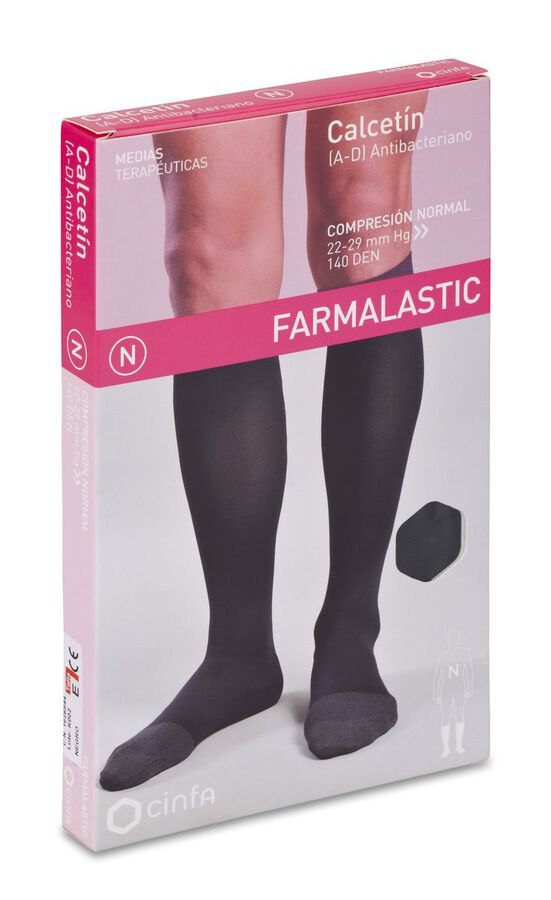 Farmalastic Calcetín Antibacteriano Negro Compresión Normal Talla Extra Grande, 1 Par