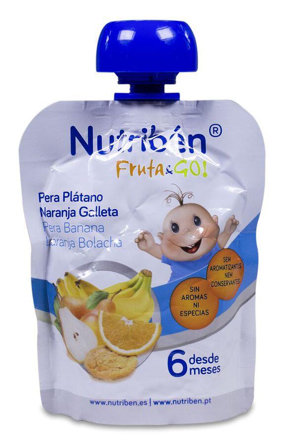 Nutribén Fruta & GO! Pera, Plátano, Naranja y Galleta, 90 g
