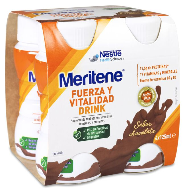 Meritene Drink Chocolate Botellas 125 ml, 4 Uds
