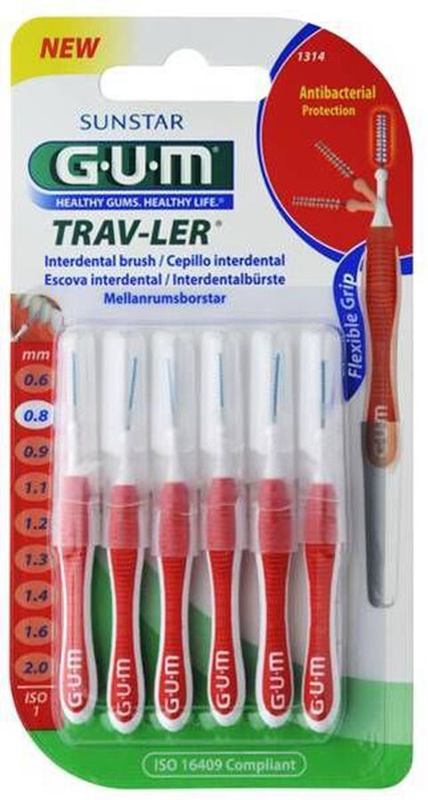 GUM Interdental Trav-Ler 0,8 mm, 6 Uds