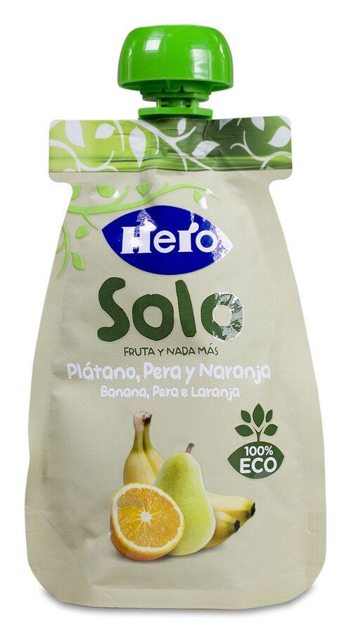 Hero Baby Bolsita Solo Plátano, Pera y Naranja, 100 g