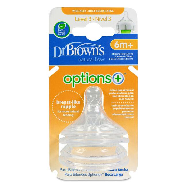 Dr. Brown's Options+ Tetina Boca Ancha Nivel 3, 2 Uds