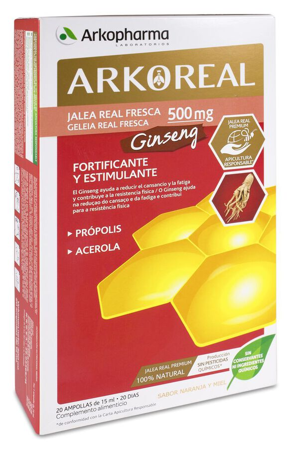 Arkopharma ArkoReal Jalea Real+Ginseng, 20 Ampollas